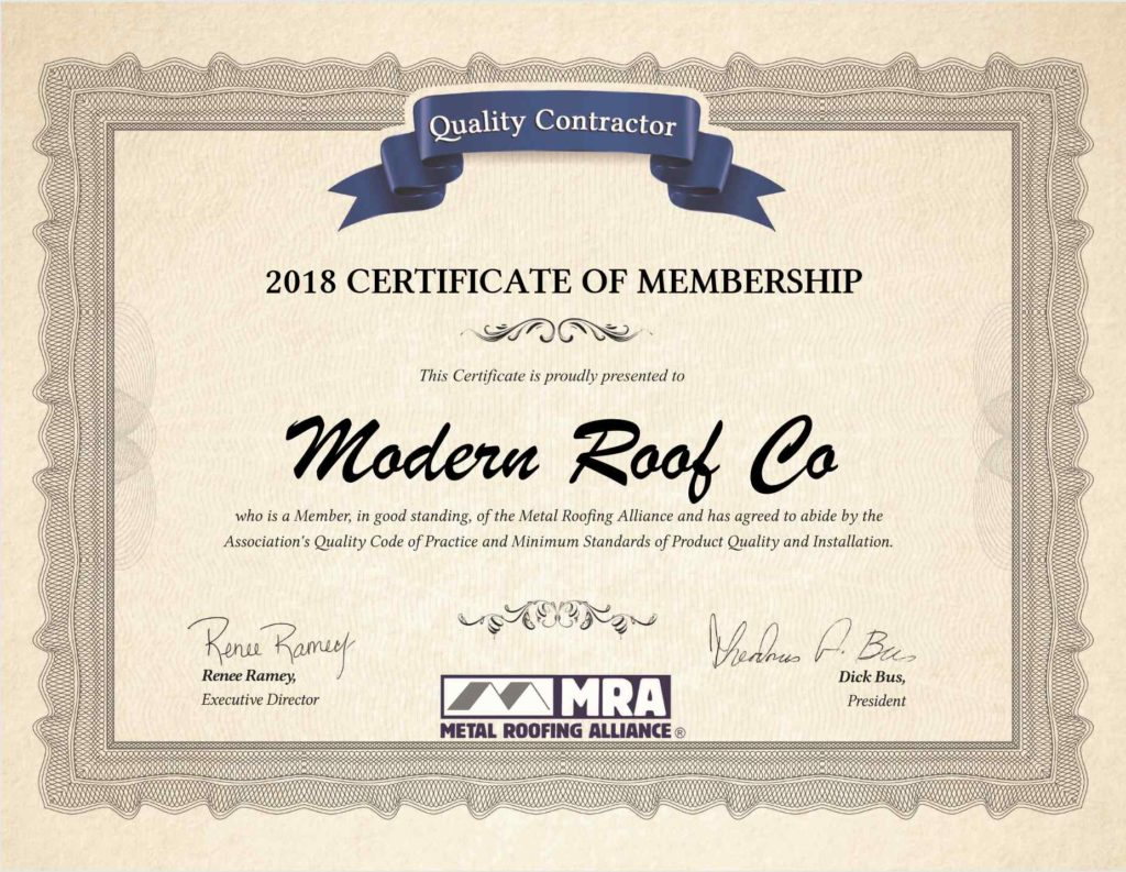 Metal Roofing Alliance Certificate