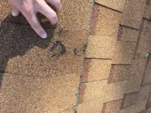 Three spot hail damage on brown roof insurance claim