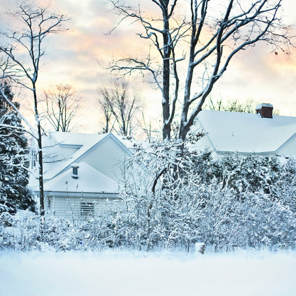 House covered in snow after storm