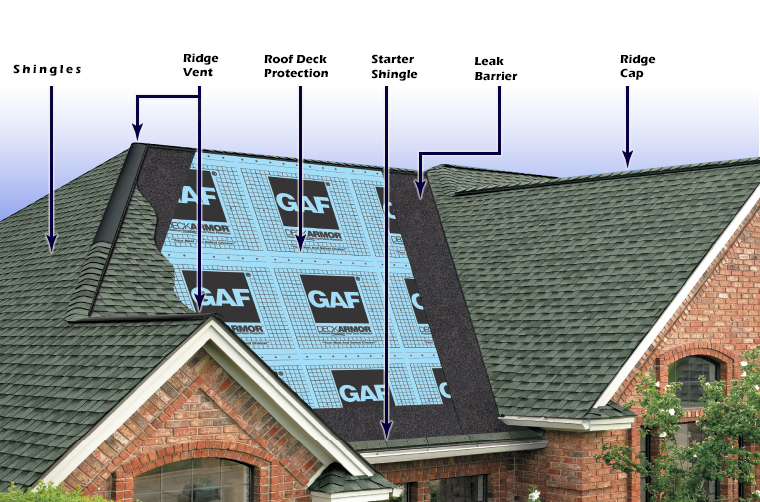 Roof diagram of major components