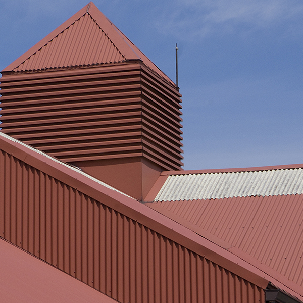 Metal roof on metal commercial and industrial building