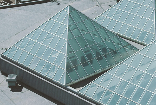 Commercial roof with Glass Pyramids