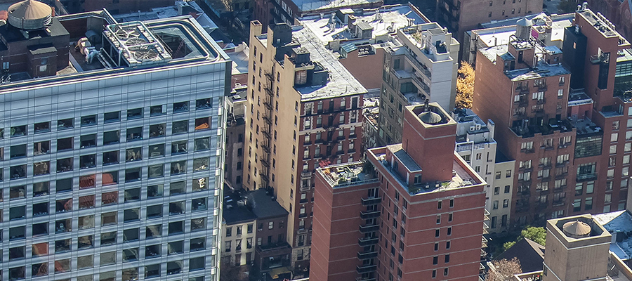 Skyline with buildings that have different roof coatings